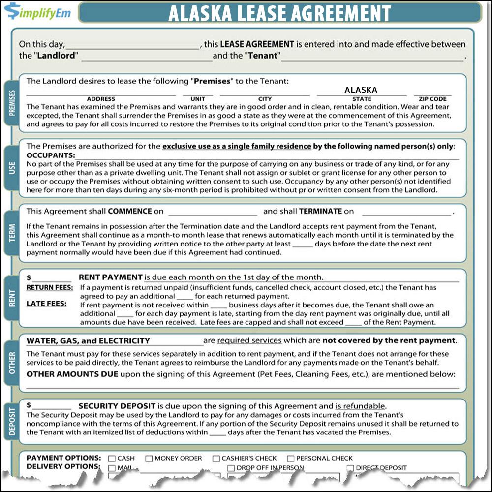 Alaska Lease Agreement Simplifyem Com