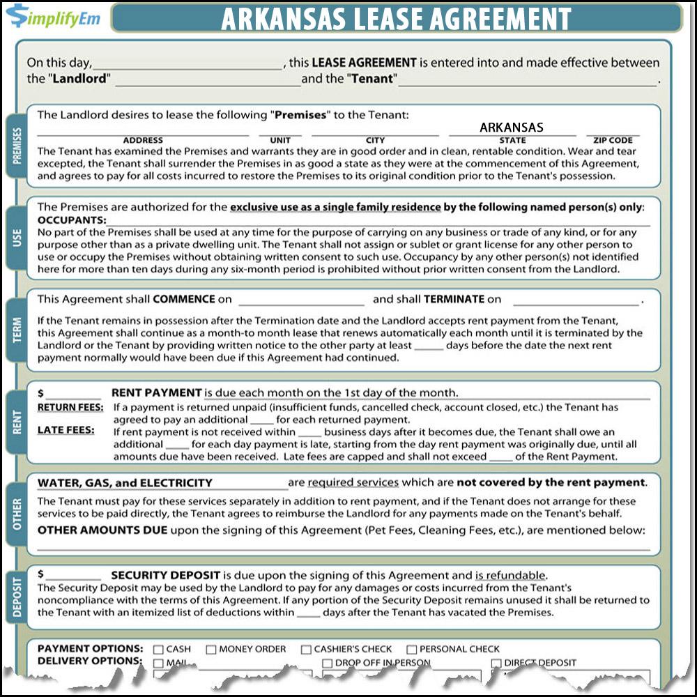 Arkansas Lease Agreement Simplifyem Com