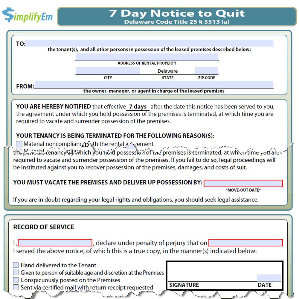 Delaware Notice to Quit