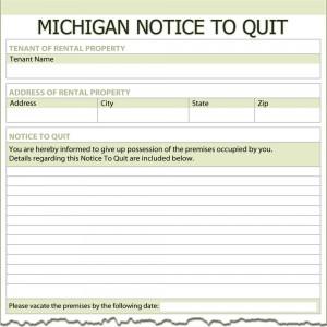 michigan notice to quit Michigan