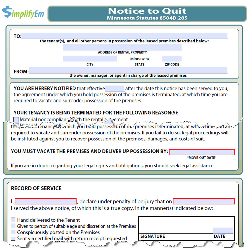 minnesota notice to quit