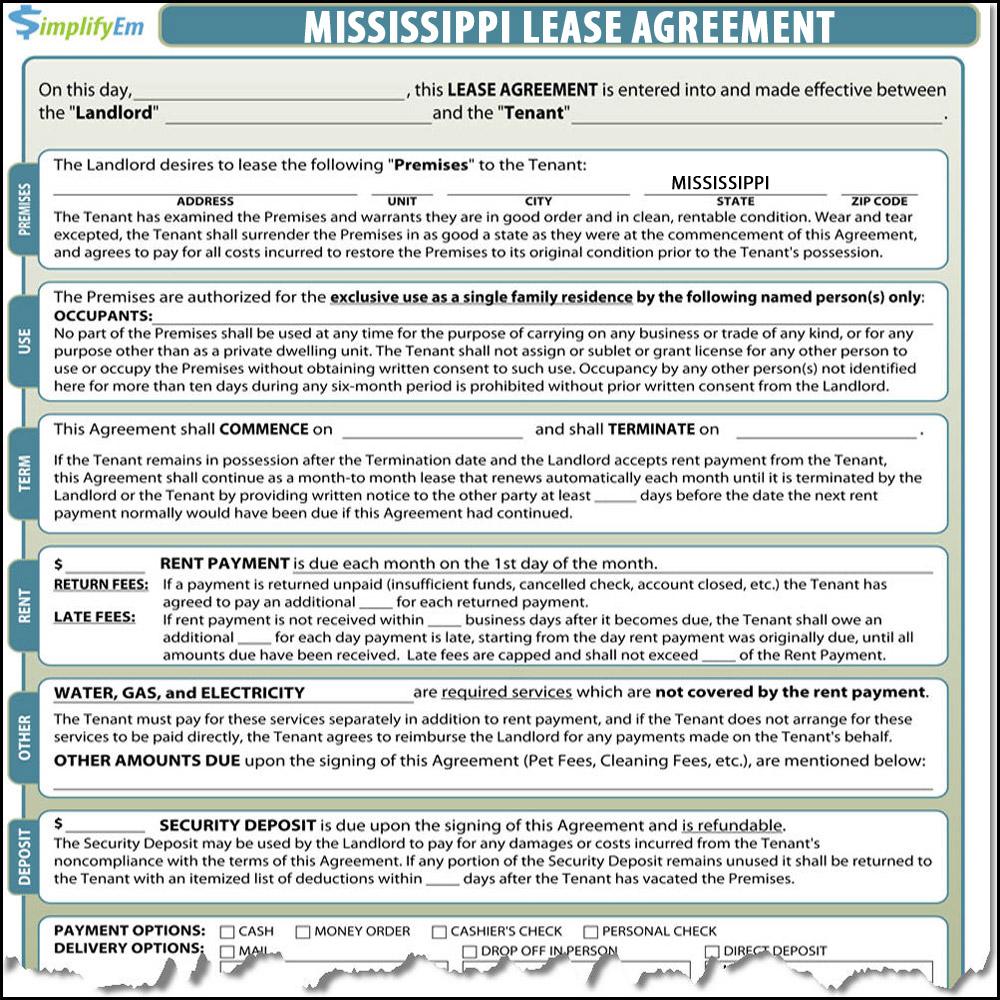 Mississippi Lease Agreement Simplifyem Com