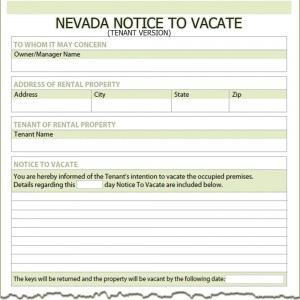 Nevada Tenant Notice to Vacate