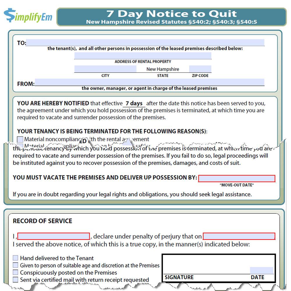 new hampshire notice to quit