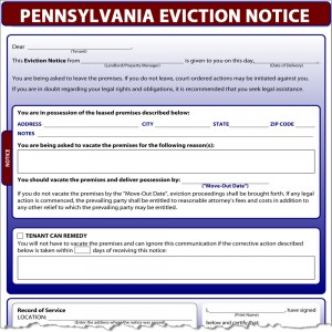 pennsylvania eviction notice. Black Bedroom Furniture Sets. Home Design Ideas