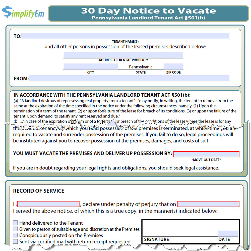 Sample Letter Of Intent To Vacate Rental Property from www.simplifyem.com