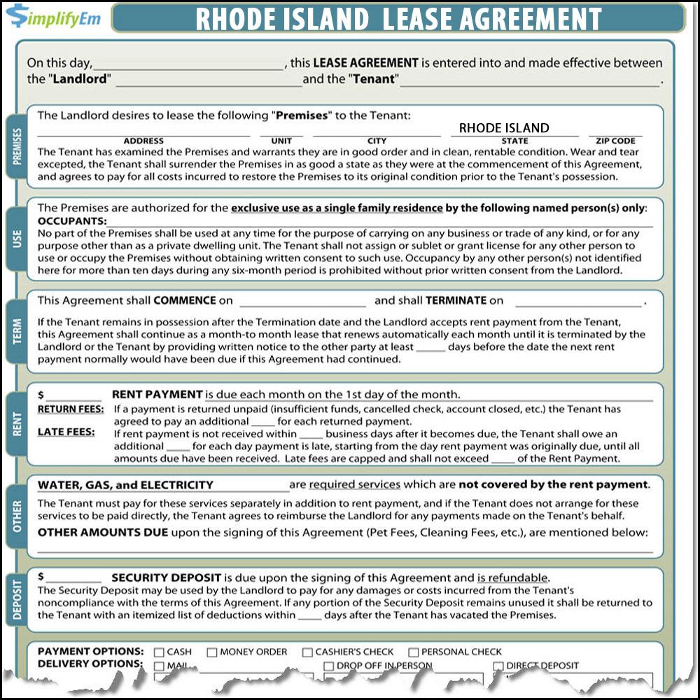 Rhode Island Lease Agreement Simplifyem Com