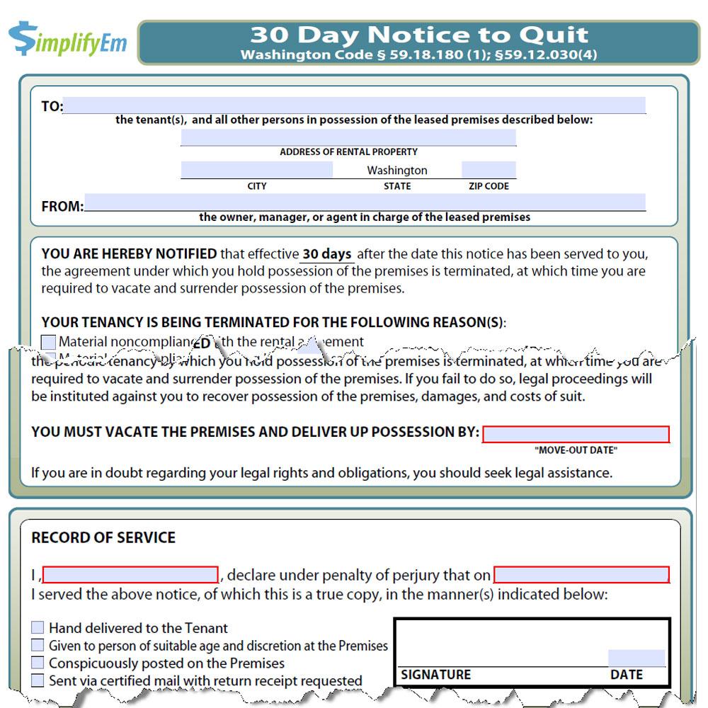 Washington Notice To Quit